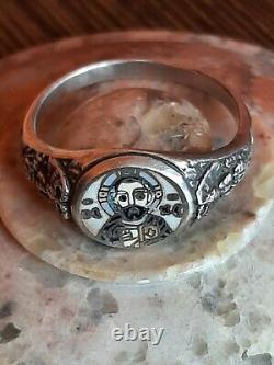 Russia, Rare Russian Imperial Time Sterling-silver 84, Enamel Ring
