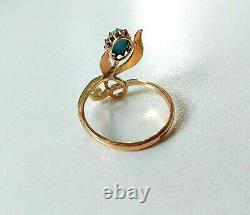 Russian Antique Imperial gold 56 (14ct) ring with Persian Turquoise rare