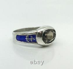 Russian Imperial 84 Silver Enamel NAVY Academy Ring with Topaz