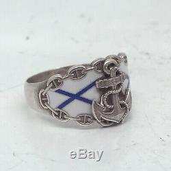 Russian Imperial 84 Silver Enamel NAVY Ring