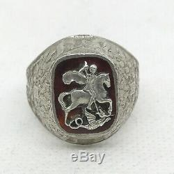 Russian Imperial 84 Silver Enamel Ring with St. George