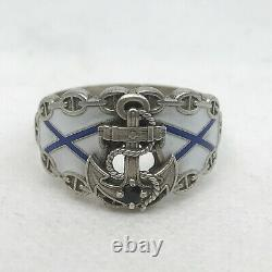 Russian Imperial 88 Silver Enamel NAVY Ring with Sapphire August Holming