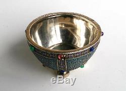 Russian Imperial Silver 84 Cloisonne Enamel Salt Cellar Grachev St. Petersburg