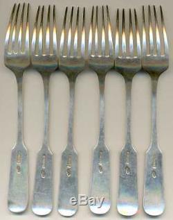 Russian Imperial Silver 84 Set of 6 Dessert Forks Polish Master Klimowicz 1908