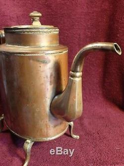 SCARCE JUG TEA POT SHAPE ANTIQUE 1800-s BRASS SAMOVAR IMPERIAL RUSSIA RUSSIAN