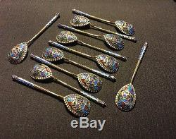 Set Of 11 Russian Imperial Silver 84 Enamel Spoons Weight 173 Gr Hallmarked
