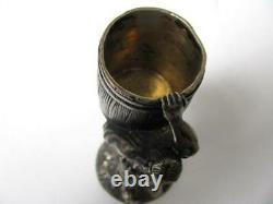 Two Original Antique Russian Imperial Decorative Sterling Silver Goblet Wine Cup