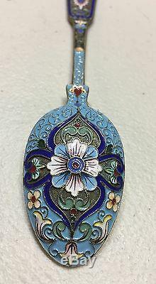 Vintage Antique Russian Imperial Silver 84 Enamel Spoon Hallmarked 45 Grams