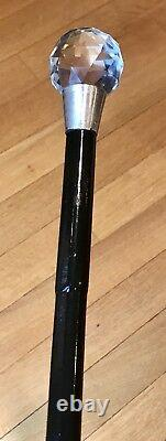 Vintage Antique Russian Imperial Walking Stick Cane Silver84 Genuine Crystal Top