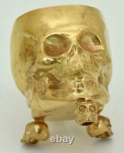 WWI Imperial Russian Doctor's Memento Mori solid silver&gold plated skull goblet