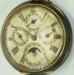 WWI Imperial Russian officer's gunmetal&enamel Calendar Moon phase pocket watch