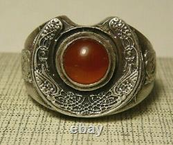 WWI Military Ring Carnelian Imperial Russian 84 Silver 1914