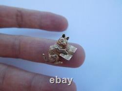 1 D'un Genre Impérial Russe 1900 Hollow Cast 14k 56 Gold Cat Pendentif Charm