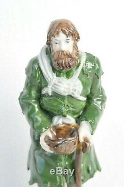 1800y. Rare De Russie Imperial Popov Figurine Porcelaine Ceramique Girl Statue Émail