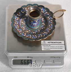 1892 Russian Imperial Royale 84 D'argent En Émail Candlestick Klinger Kovsh Bowl Egg