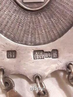 1894 Antique Impériale Russe Évêque Panagia En Argent Sterling 84 Émail 7 Couleurs