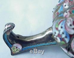 18c. Antique De Russie Royal Imperial 88 Argent Emaille Kovsh Bol Seau Spoon