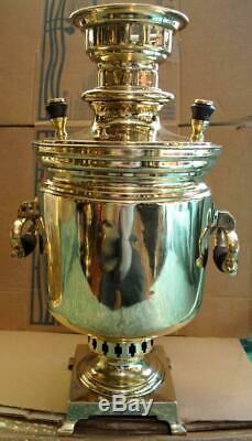 19 Antique Impériale Russe Feu De Bois Thé Samovar Batashev Tula 3 Litres Marques