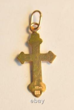 1900y Russian Royal Imperial 56 Or Orthodoxe Croix Icône Pendentif Collier Jésus