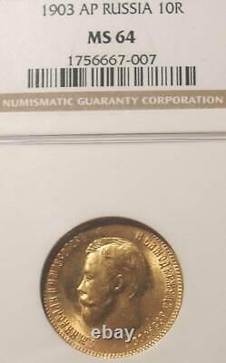 1903 Ngc Ms64 10 Roubles Russian Tzar Antique Gold Coin Imperial Antique Russie