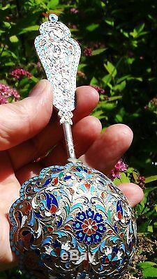 19c Antique De Russie Imperial Argent Emaille Cuiller De Par Gustav Klingert