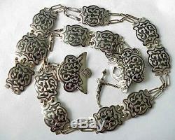 19c Imperial De Russie 84 Argent Emaille Royal Ceinture Art Antique Kubachi Sterling