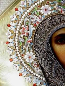 19c. Rare De Russie Imperial Icon Dieu Mère Kazan Argent Or Émail Filigree Tsar