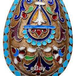 3 Antique Impériale Russe En Argent Doré Cloisonné Moscou Cuiller Pan Slave