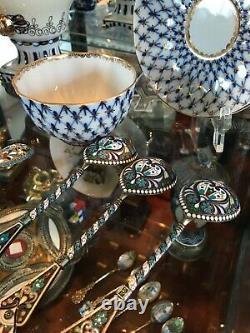 6 Antique 1900's Russian Imperial Silver Émail Serving Spoon Par Faberge 84 Rare