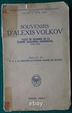Ancien Mémor Russe Impérial Alexis Volkov Valet Tsarina Alexandra Romanov