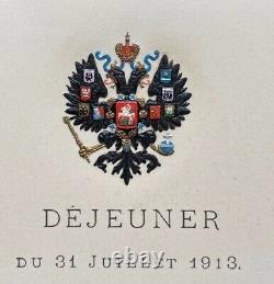 Ancien Menu Impérial Russe Peterhof Hébergé Par Le Tsar Nicolas II Romanov 1913