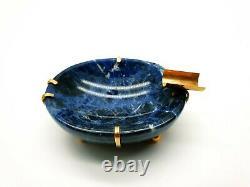 Ancienne Cigarette Impériale Russe Naturel Lapis Lazuli 56 Gold 14k Ashtray Bowl