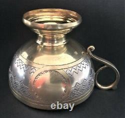 Ancienne Coupe D'argent Russe Niello Sterling Et Saucer (p. Abrosimov)