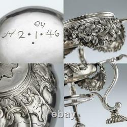 Antique 18thc Imperial Russie Solide Silver Tea Kettle On Stand, Moscou Vers 1761