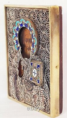 Antique 19ème C Icône Russe De Saint Nicolas En Argent 84 Émail Filigree Riza