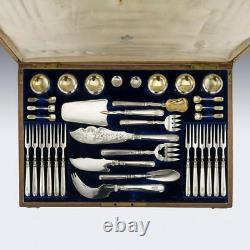 Antique 20thc Imperial Russian Solid Silver Caviar & Fish Cutlery Set Vers 1900