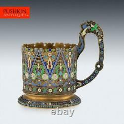 Antique 20thc Imperial Russian Solid Silver-gilt Émail Tea Glass Holder Vers 1910