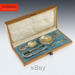 Antique 20thc Russe Faberge Argent Imperial Tea Couverts, Sokolov C. 1900