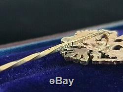 Antique Aigle Impérial 56 Or Bâton Russe Broche Faberge Era Tsar Russie