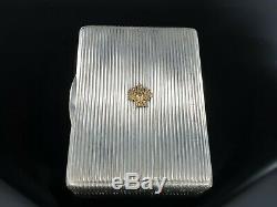Antique Aigle Impérial Russe D'argent Cigarette Vesta Cas Or 14k Faberge Era