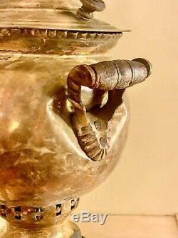 Antique Brass Impériale Russe Samovar, Ronde, Vintage Tea Urn, Tula