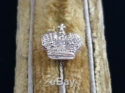 Antique Couronne Impériale En Or 14k Bâton Russe Broche Faberge Era Tsar Russie