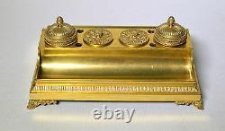 Antique Empire Royal Du Xixe Siècle Inkwell Russe De Bronze Doré