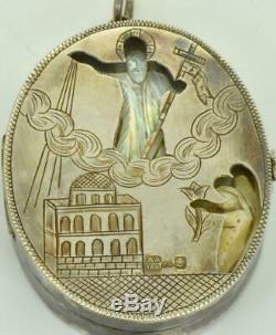 Antique Imperial Argent Russe Et Nacre De Perle Pendentif Orthodoxe Locket