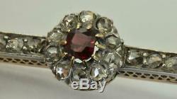 Antique Imperial Or Russe Fabergé 18k, Rose Coupé Diamonds & Broche Garnet