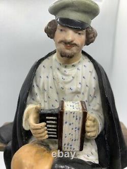 Antique Imperial Porcelaine Russe Gardner Manufactory Figure Accordéon Joueur