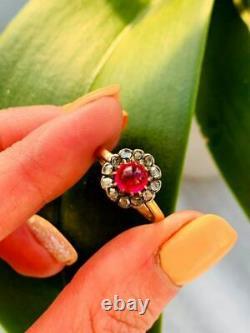 Antique Impérial Rose Russe Or 56 14k Bijoux Femmes Anneau Diamants 0.2 Ct