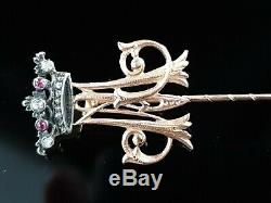 Antique Imperial Royal Gold Bâton Pin Russe Romanov Grande-duchesse Fedor Lorie