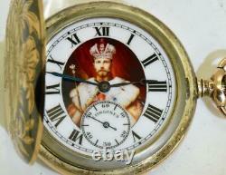 Antique Impérial Russe Art-nouveau Longines Argent, Or&niello Montre De Poche