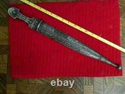 Antique Impérial Russe Caucasien Argent Kindjal Kindjal Cosaque Dague